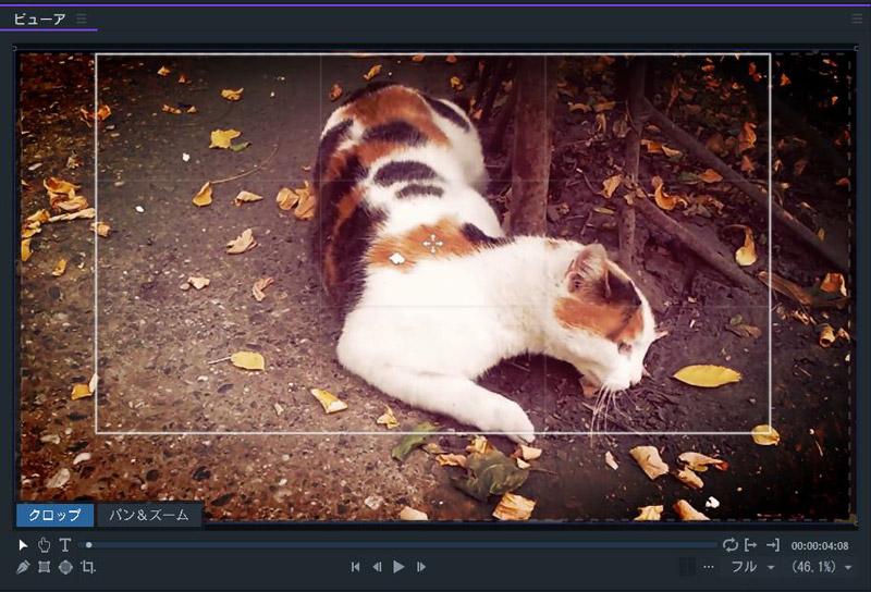 FilmoraPro クロップのインターフェイス