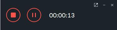 録画を停止または一時停止するボタン