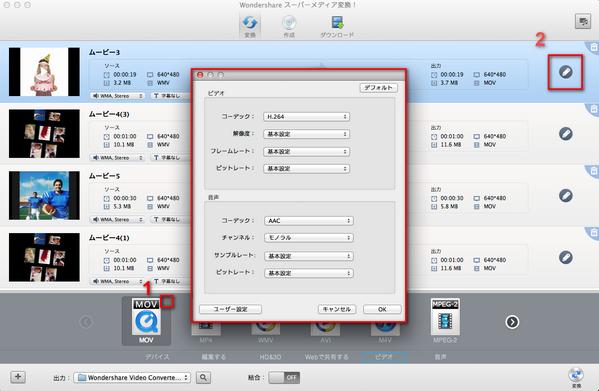 AVI変換MAC詳細設定