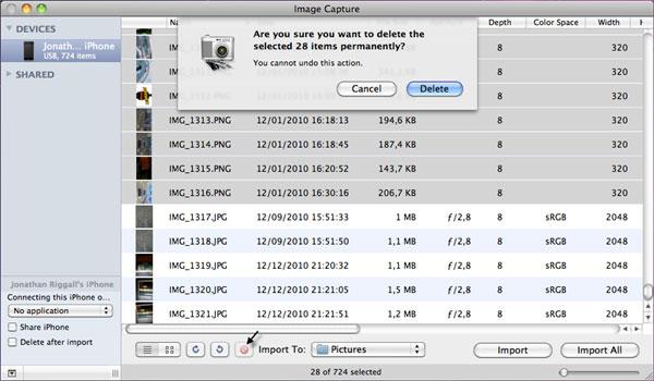 delete camera roll iphone