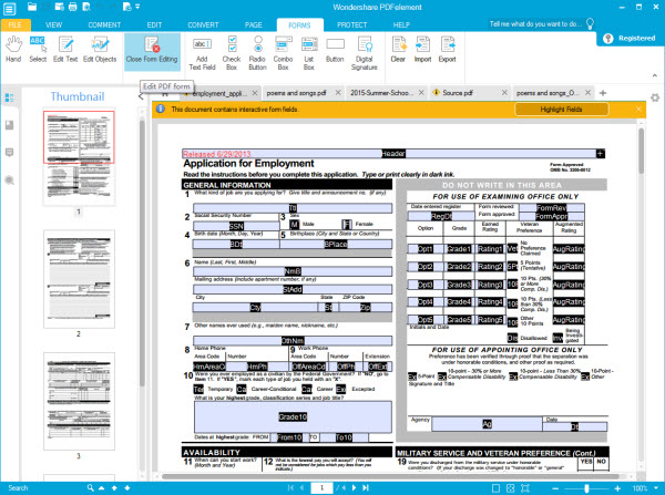 PDF Form tool