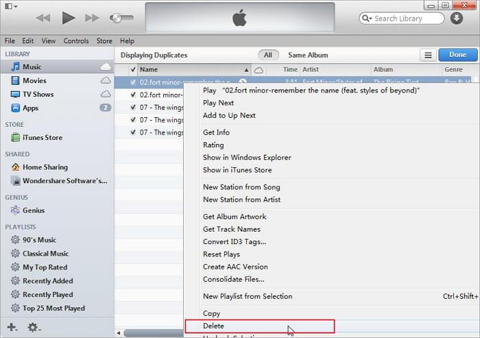 iTunesの重複ファイルを削除