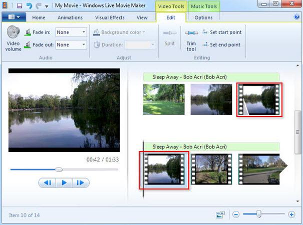 Windows Live Movie Makerでビデオを分割します
