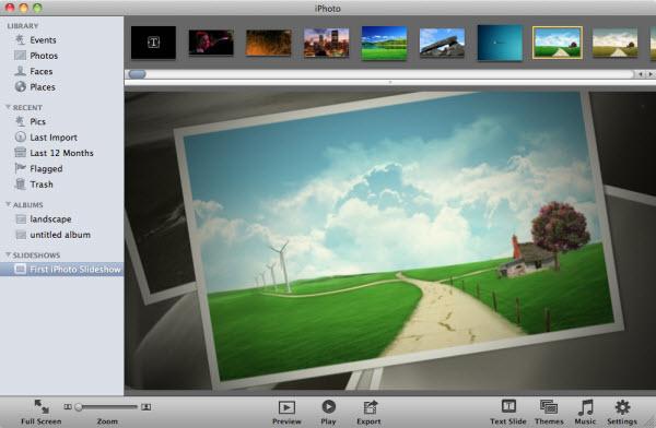 カスタムiPhotoスライドショーを設定する