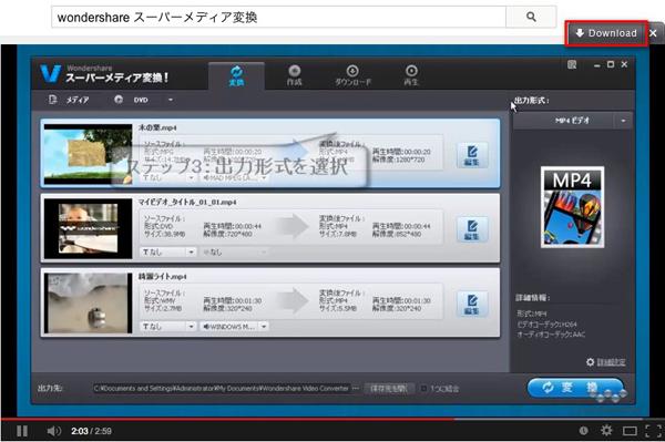 動画のダウンロード