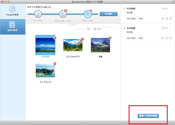 Mac用音楽管理ソフト:重複した音楽ファイルの削除