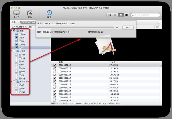 Rawファイルの復元:スキャン