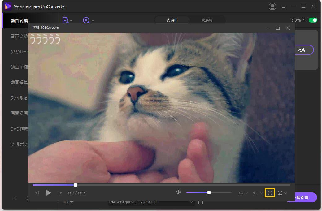 WebM動画をフルスクリーンで再生